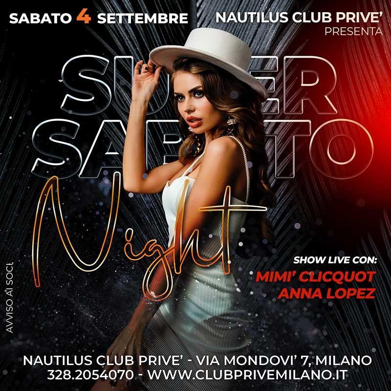 super sabato club prive nautilus milano